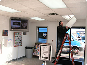 a-1 lighting service installed high efficiency replacement fluorescent lighting for thrifty car rental near logan airport